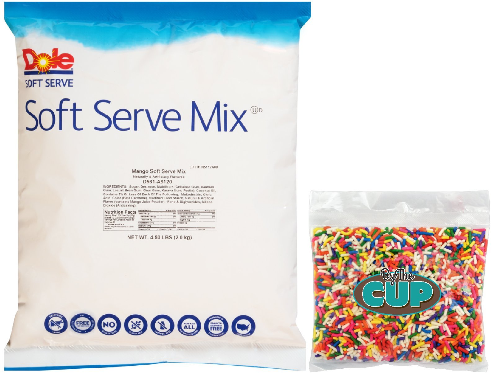 Dole Soft Serve Mix - Mango Dole Whip, Lactose-Free Soft Serve Ice Cream Mix, 4.50 Pound Bag - with By The Cup Rainbow Sprinkles