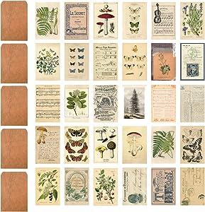 JTHRA Vintage Style Postcards and Envelopes Set, Floral Retro Plant Mushroom Butterfly Old Time Memory Letter Sheet Music Postcards DIY Card Paper