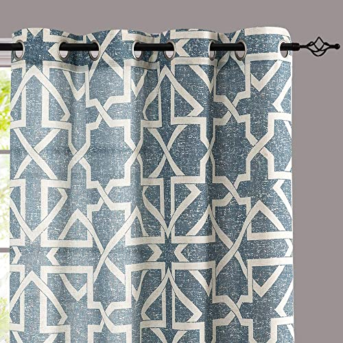 jinchan Linen Curtains for Living Room Flax Linen Blend Textured on Beige Drapes Geometry Pattern Print Grommet Window Treatment Set for Bedroom 95 inches Length 2 Panels Blue on Beige