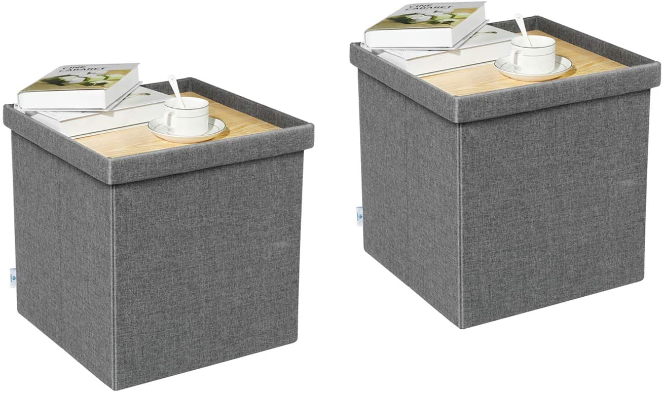 """B FSOBEIIALEO Storage Ottoman with Tray, Linen Small Coffee Table Folding Foot Rest Seat Cube, Dark Grey 16""""X15.7""""x15"""" Double (2 Pack)"""