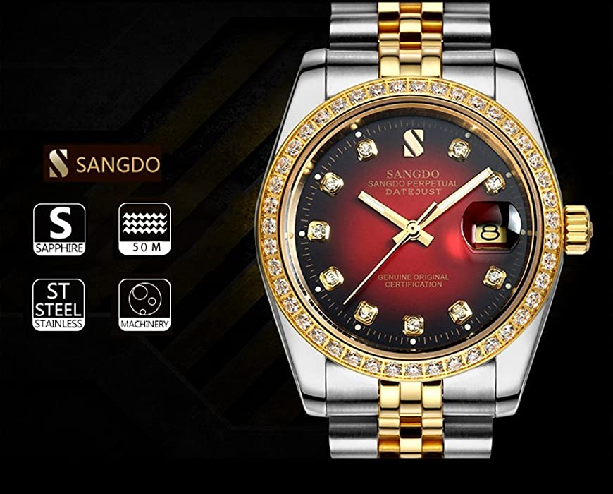 30d28fd3903 PASOY Men Automatic Red Face Waterproof Sapphire Diamonds Srystal Stainless  Steel Band Date Watch 40MM. Back. Double-tap to zoom