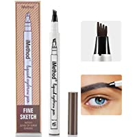 4-point eyebrow pencil, waterproof eyebrow pencil, micro-bladed eyebrow pencil with micro fork applicator, create natural eyebrows and keep them all day long (2 pieces/set) (Light Brown)