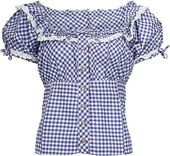 Traje Regional & Pracht – Mujer Algodón – Traje Tradicional Blusa – Blusa Cuadros Azul 36: Amazon.es: Ropa y accesorios