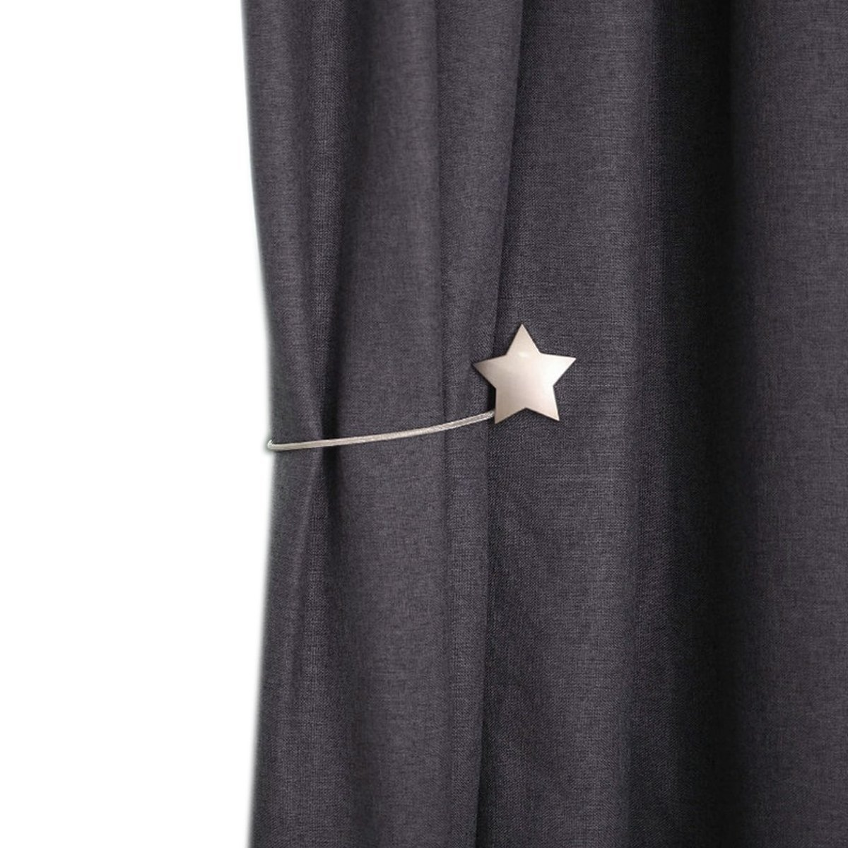 YING CHIC YYC 1Pair New Alloy Star Magnetic Curtain Tieback Decor Curtain Buckle Drapery Holder (Silver)