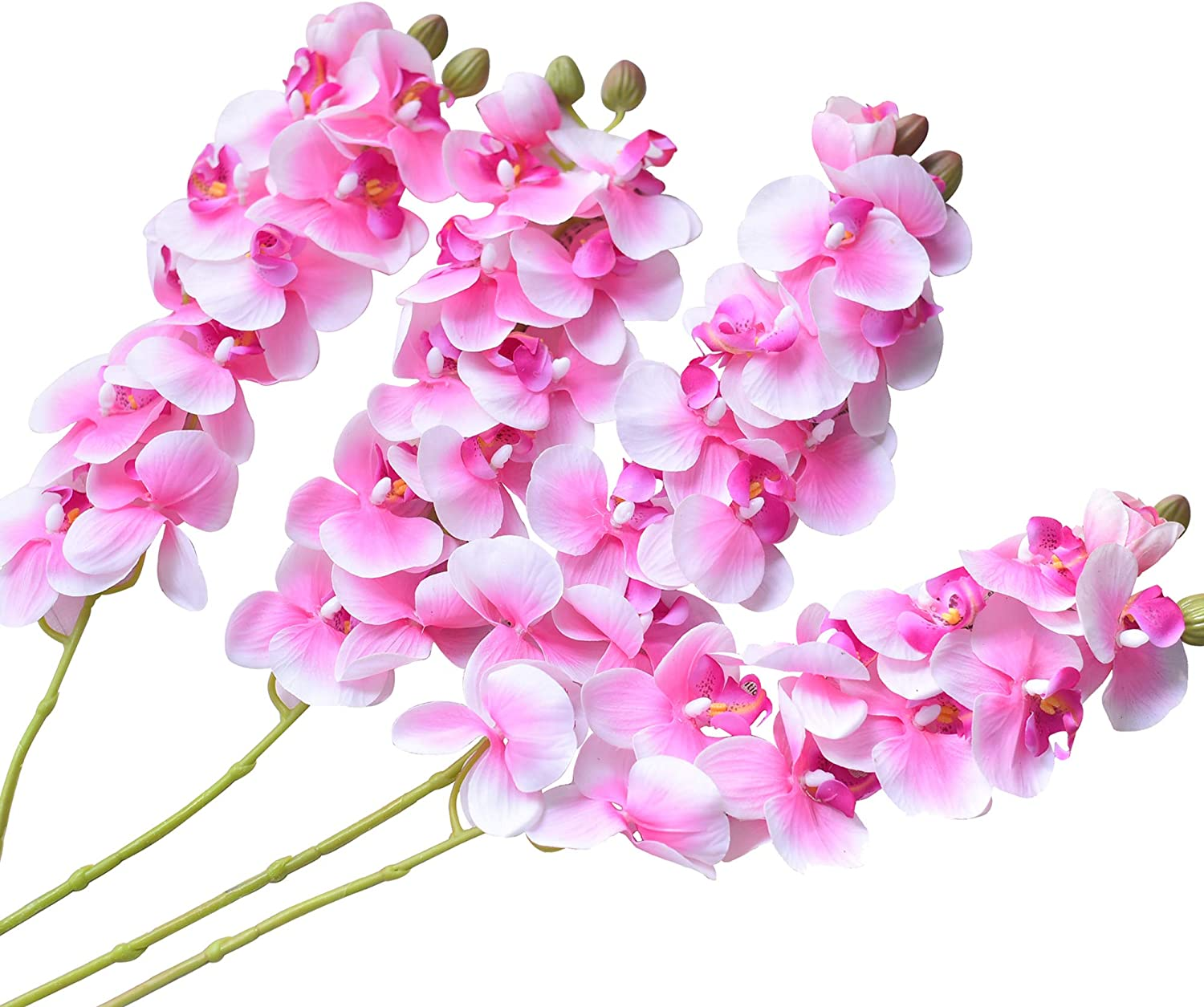 Amazon Com Ivalue 4pcs Artificial Orchid Stems Real Touch Phalaenopsis Orchids Flowers Pink Fake Flower Branches 28 For Home Arrangement 4 Light Pink Orchid Home Kitchen