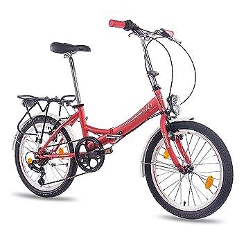 Ciudad de 20 pulgadas bicicleta plegable bicicleta CHRISSON FOLDO con 6 velocidades Shimano Unisex rojo mate