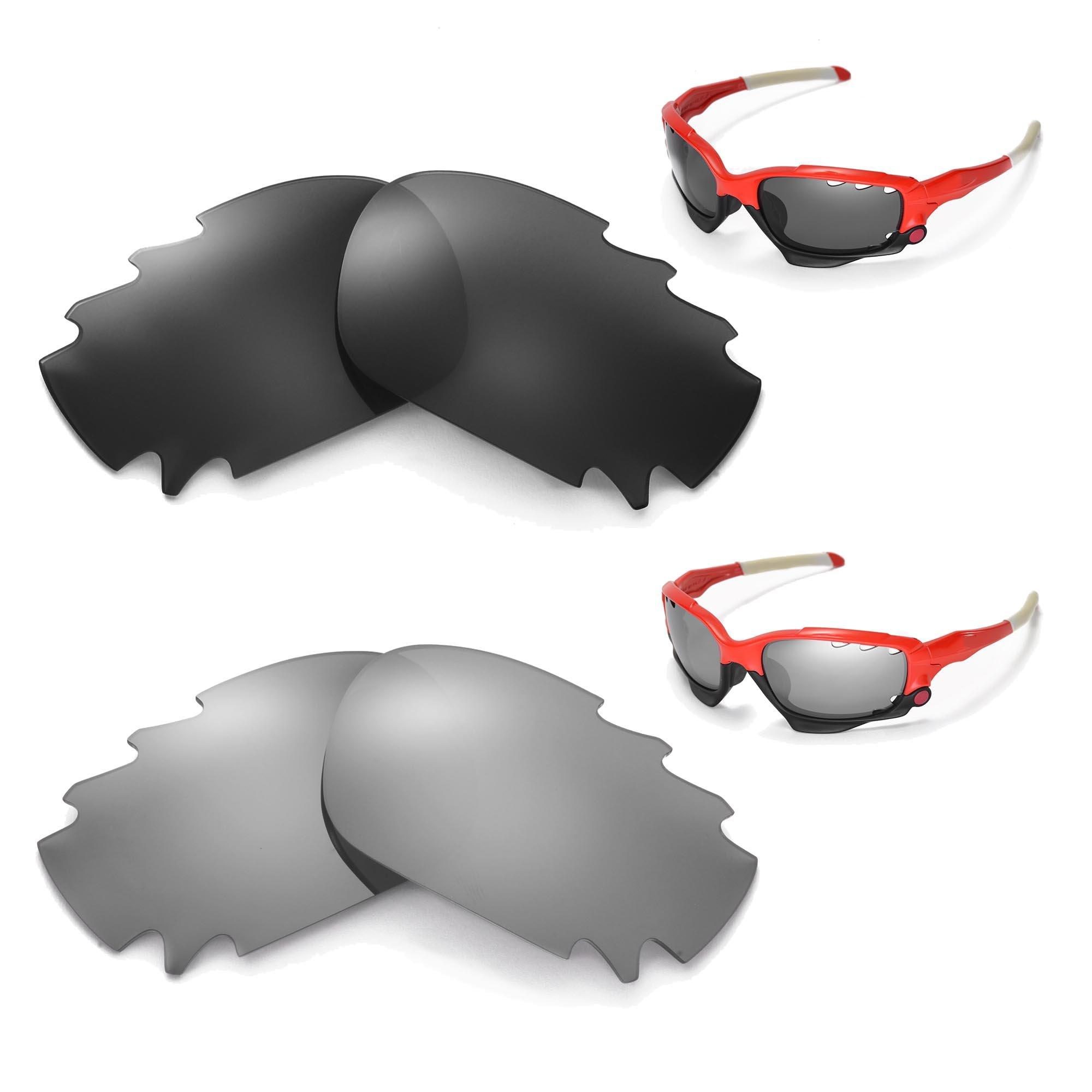 New Walleva Polarized Black + Titanium Vented Lenses for Oakley Racing Jacket