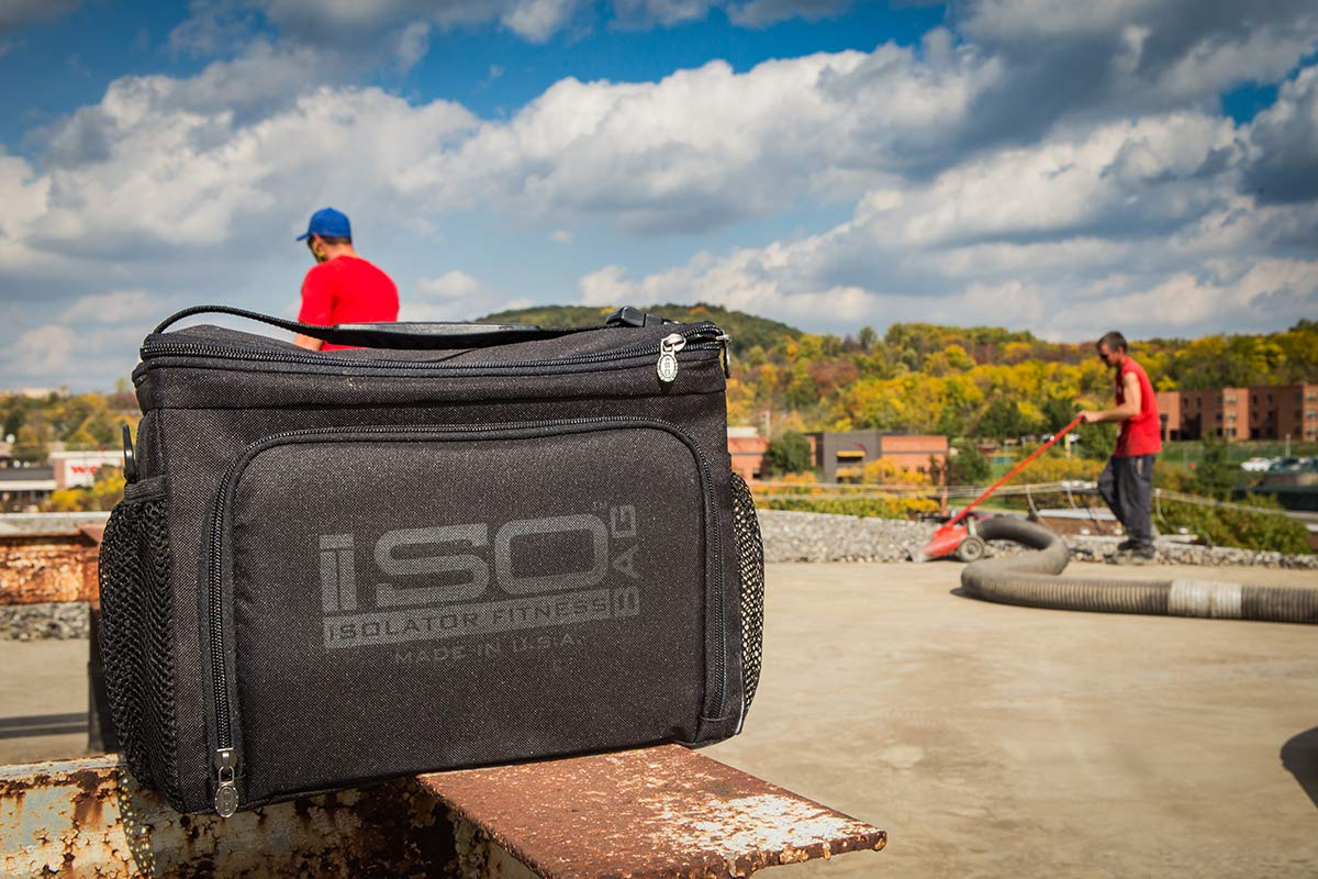 Isolator Fitness 6 Meal ISOCUBE Meal Prep Management Insulated Lunch Bag Cooler with 12 Stackable Meal Prep Containers, 3 ISOBRICKS, and Shoulder Strap - MADE IN USA (Blackout) by Isolator Fitness (Image #7)