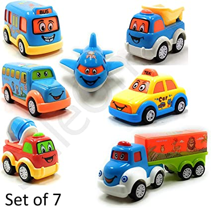 ToysStock Set of 7 Unbreakable Friction Powered and Pull Back Automobile Car, Effective Way to Develop Their Social and Communication Skills