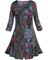 Women's Zip-Front Dress - Pretty Paisley On Black