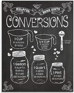 Kitchen Conversion Graphics on Chalkboard - 11x14 Unframed Art Print - Great Kitchen/Dining/Restaurant Decor