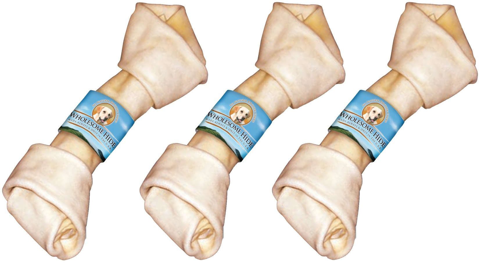 (3 Pack) Premium USA Beef Hide - Flat Knot Bone, 10 To 11 Inches each