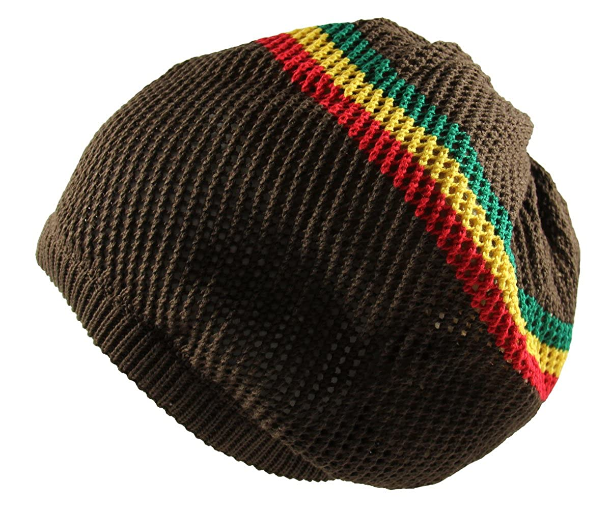 RW 100/% Cotton Mesh Rasta Light Weight Slouchy Beanie
