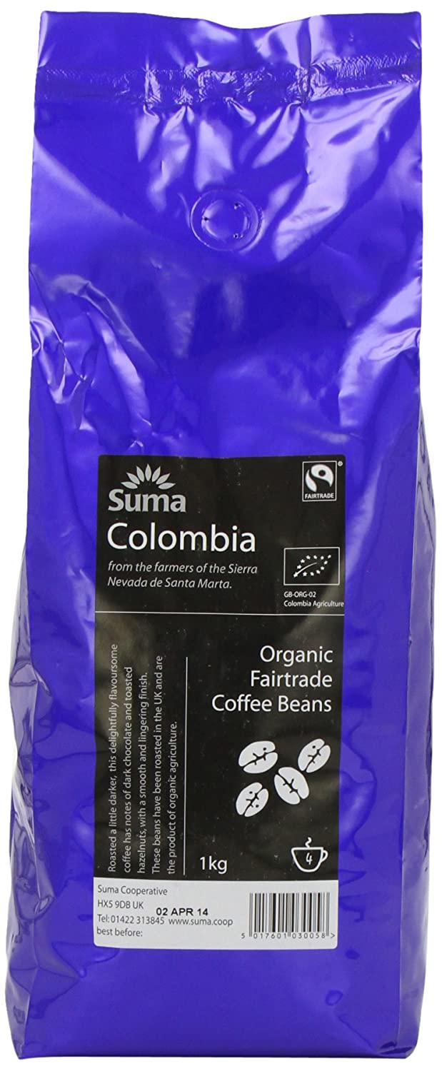 Suma Fairtrade Organic Colombia Cosurca Coffee Beans 1 kg: Amazon.es: Alimentación y bebidas