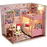 Ogrmar Wooden Dollhouse Miniatures DIY House Kit with Cover and Led Light-Blossom Age