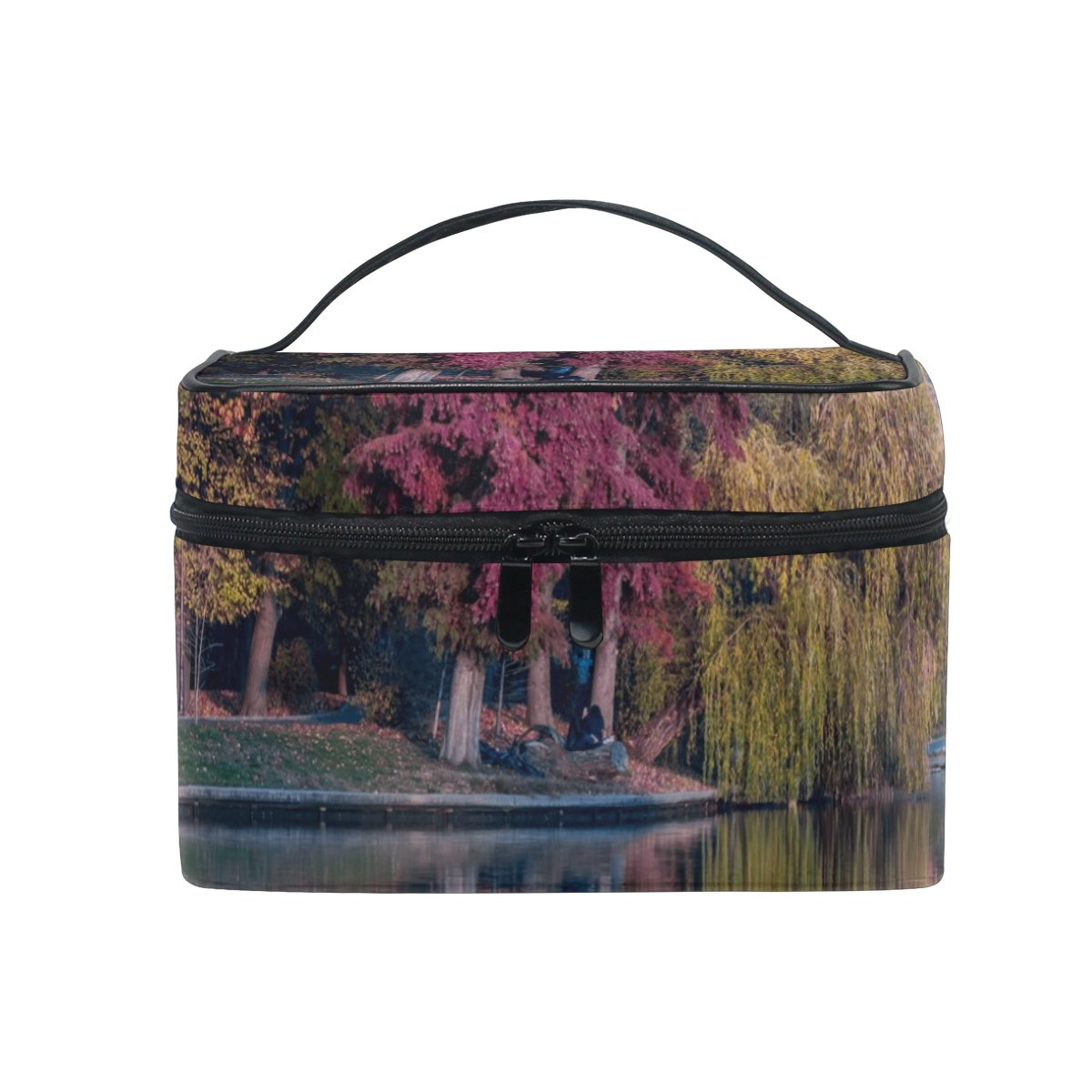 LENNEL DIY Pattern Trees Plants Nature Forest Autumn Fall Grass Makeup Case Carrying Portable Zip Travel Cosmetic Brush Bag Organizer Large for Girls Women