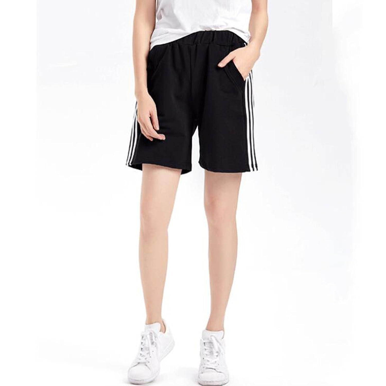 Women's Soft Sport Knit Bermuda Shorts Elastic Waist Jersey Shorts