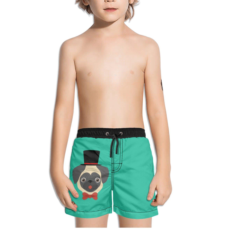 Juliuse Marthar Pug in Hat Green Swim Trunks Quick Dry Beach Board Shorts for Boys