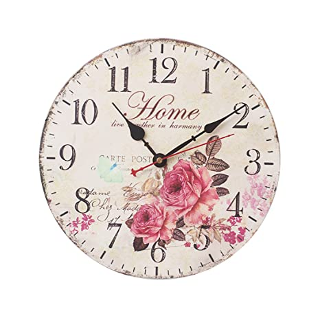 Silent Wall Clock, WOLFBUSH 12 Inch Non-Ticking Clock Wall Vintage Home Decor,