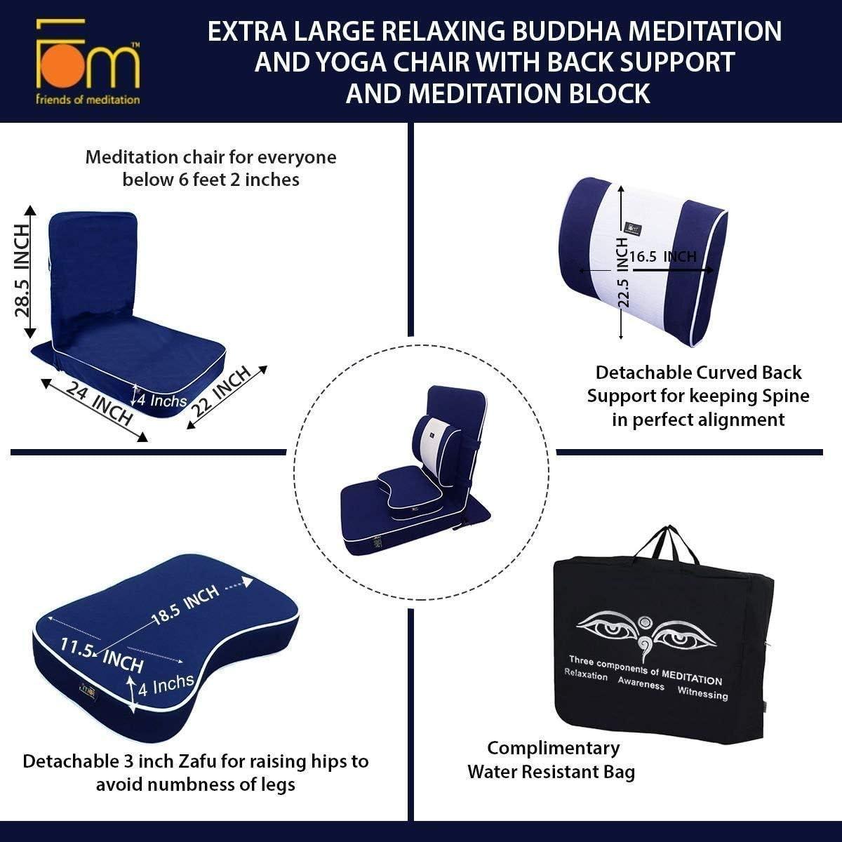Extra Grande Silla de Descanso de Buda de meditaci/ón y Yoga con la meditaci/ón y el Bloque backsupport FOM Friends of Meditation