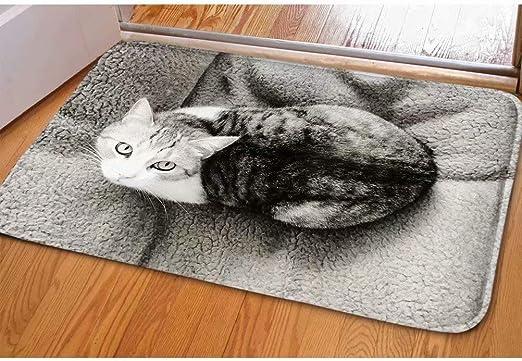 Naughty Cat Kitten Home Anti-Slip Door Mat Entrance Rug Kitchen Carpet Surprise