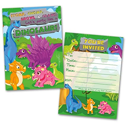 Amazon Com 20 Kids Party Invitation Cards Dinosaur Themed And 20