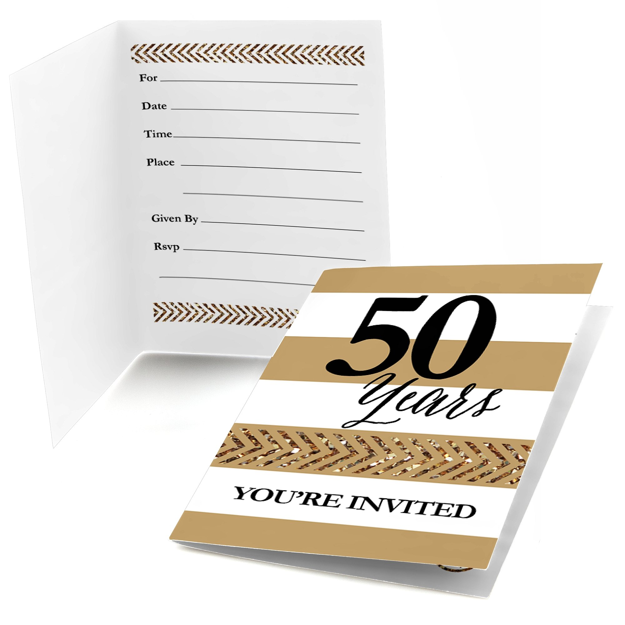 Big Dot of Happiness We Still Do - 50th Wedding Anniversary - Fill In Anniversary Party Invitations - Set of 24