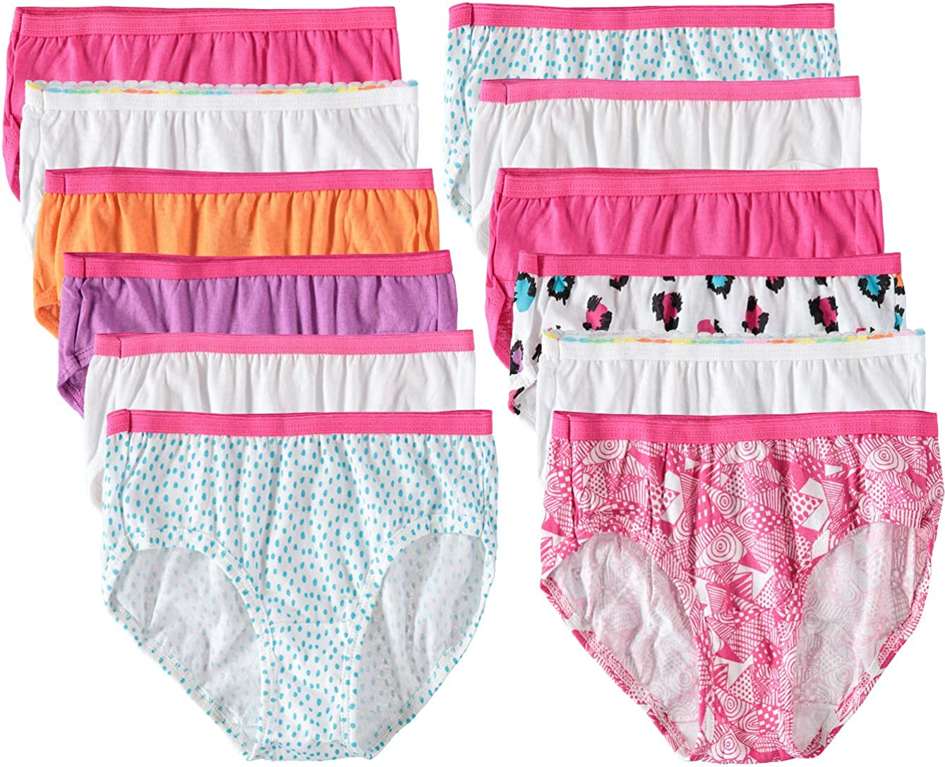 Hanes Girls' Hipster Multipack (colors and prints may vary): Clothing