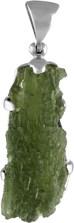 Starborn Moldavite Naturel 15-10 Carat allong/é Pendentif en Argent Sterling