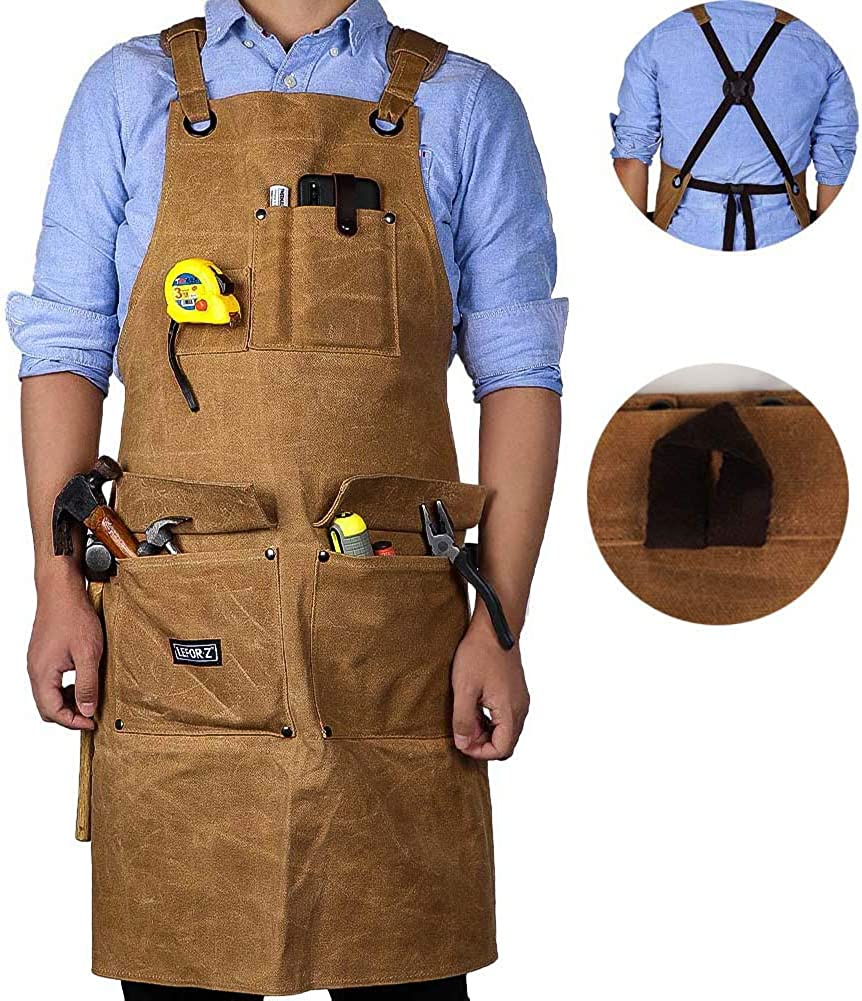 Amazon Com Wood Working Apron 16 Oz Waxed Canvas Tool Apron For Men Women Shop Apron With Cross Back Straps Adjustable M To Xxl Brown Clothing