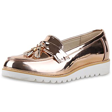 napoli-fashion Bequeme Damen Slipper Tassel Loafer Profilsohle Flats Damen  Slipper Rose Gold Lack 36