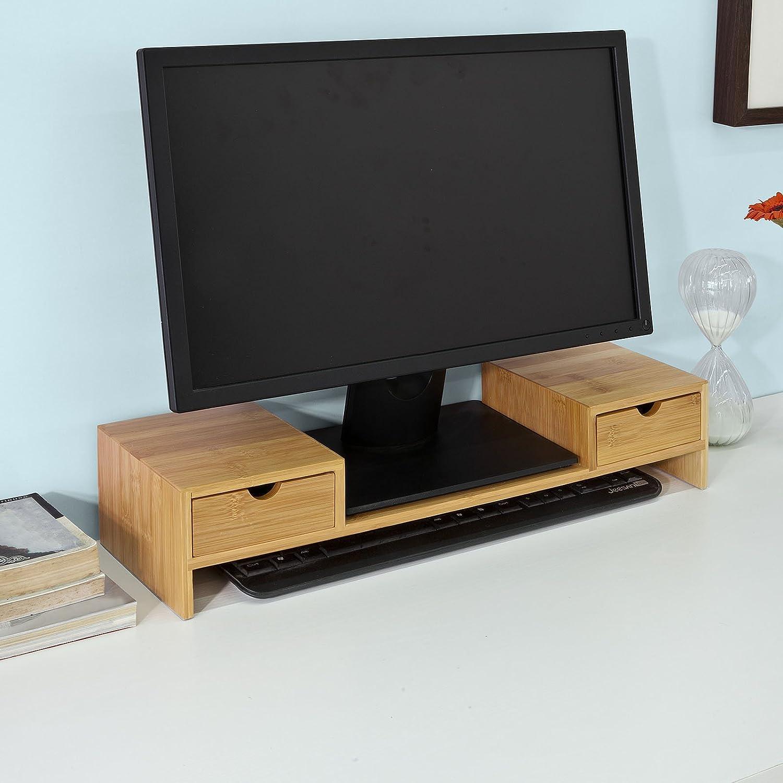 SoBuy® frg197-n, bambú soporte de monitor pantalla de ordenador soporte de monitor para monitor escritorio organizador: Amazon.es: Electrónica