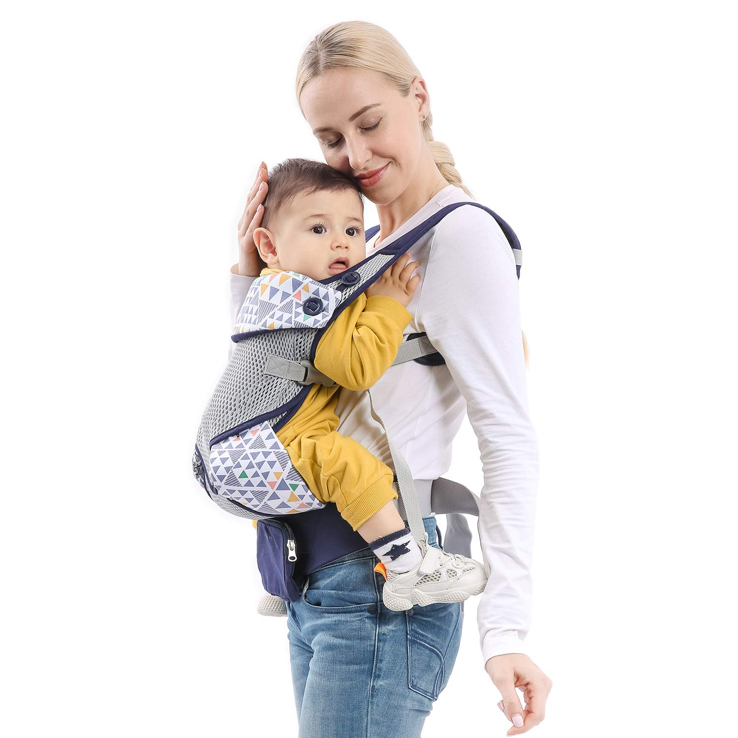 mommore Breathable Baby Carrier Ergonomic Soft Carrier with Bibs, Detachable Small Pouch for Infant and Toddler, Blue