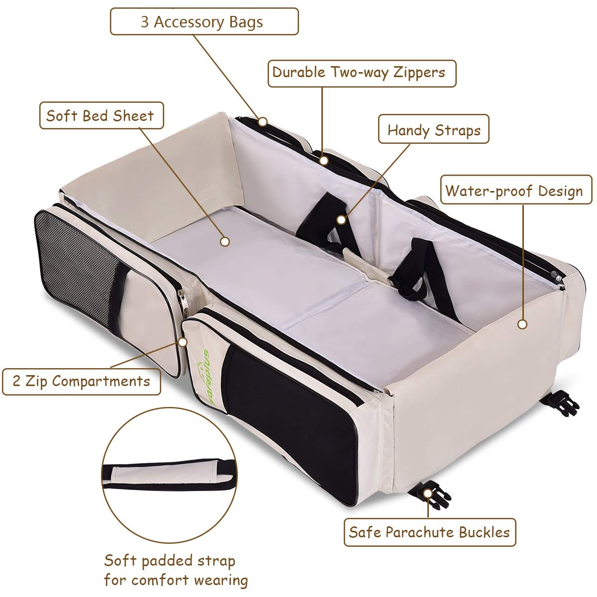 Travel Changing Station with Fitted Sheet Beige Baby Traveling Bag Mother/'s Bag HAPPYGRILL 3 in 1 Baby Bassinet Diaper Bag Waterproof Oxford Portable Bassinet