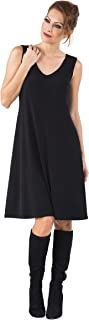 product image for Eva Varro Women's S/L V Neck A Line Dress Black