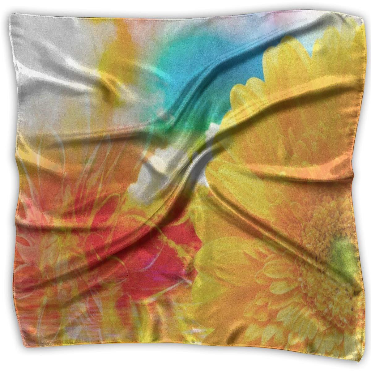 Square Scarf Oil Painting Sunflowe Sun Flower Muffler Unisex Bandanas Tie For Men