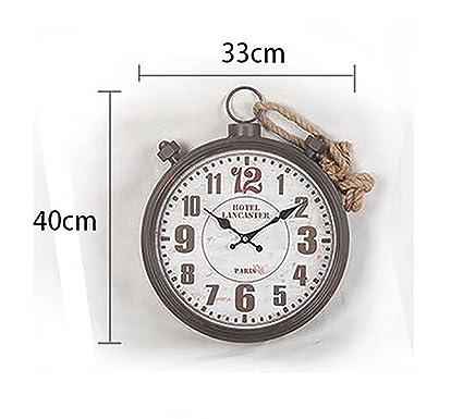 QBDS Decoraciones de pared LOFT retro nostalgia reloj de pared de cáñamo cuerda Relojes personalizados decorativos