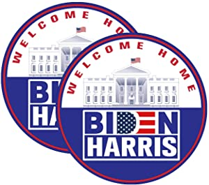 2-Pack Welcome Home Bumper Sticker Decal, Biden Harris Decal-Biden Harris 2021, Decals for Laptop Car Bumper Window Decorations,Vivid Color and UV Fade Resistant Diameter 5