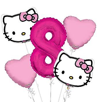 c37148cb6 Amazon.com: Hello Kitty Head Balloon Bouquet 8th Birthday 5 pcs ...