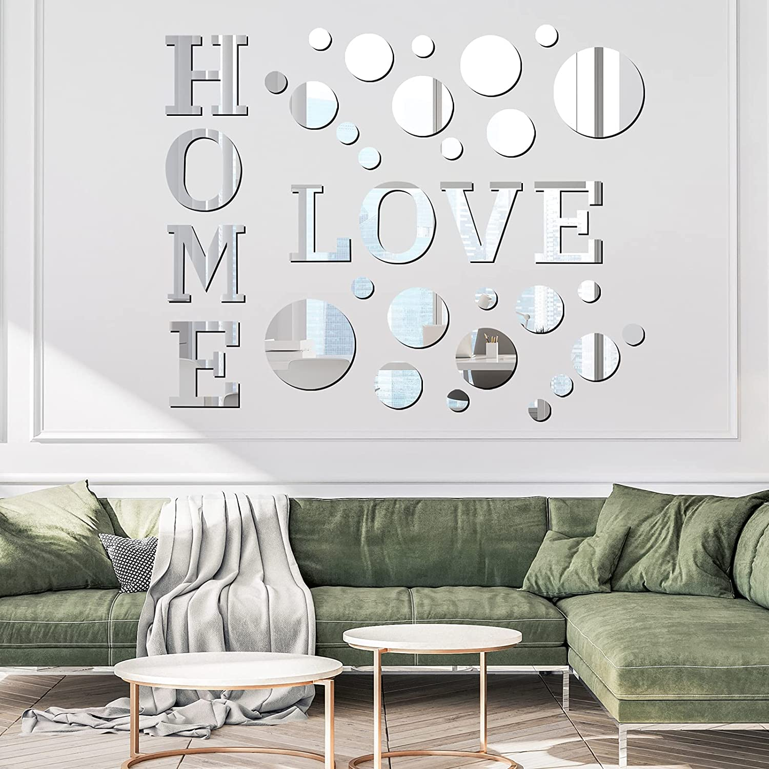 durony Home Acrylic Mirror Wall Stickers Home Love Letter Quotes Wall Stickers Letter and Round Mirror Stickers for Home Decor