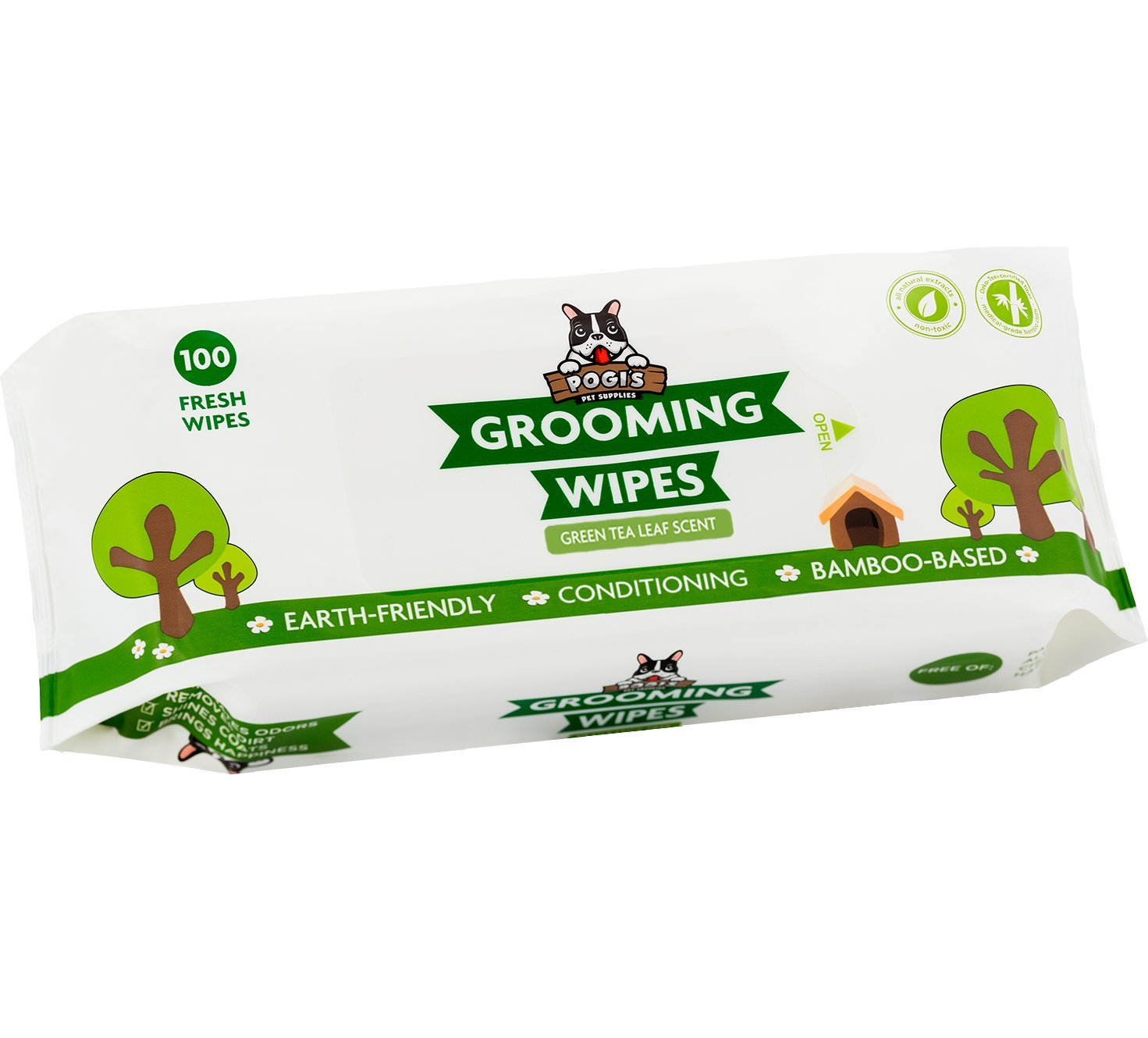 Pogi's Grooming Wipes - 100 Deodorizing Wipes for Dogs & Cats - Large, Conditioning, Green Tea Leaf Scented