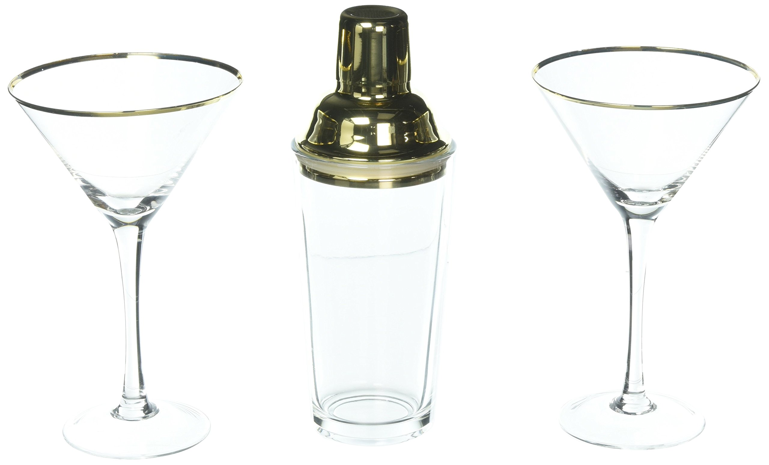 Cathy's Concepts Gold Cocktail Shaker And Martini Glasses