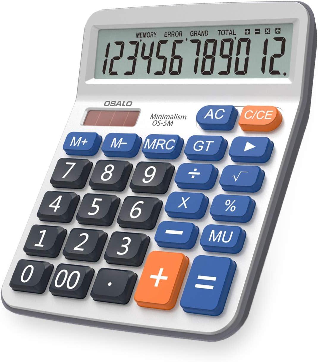 Pendancy Large LCD Display Button Electronic 12 Digits Desktop Minimalist Calculator(5M)