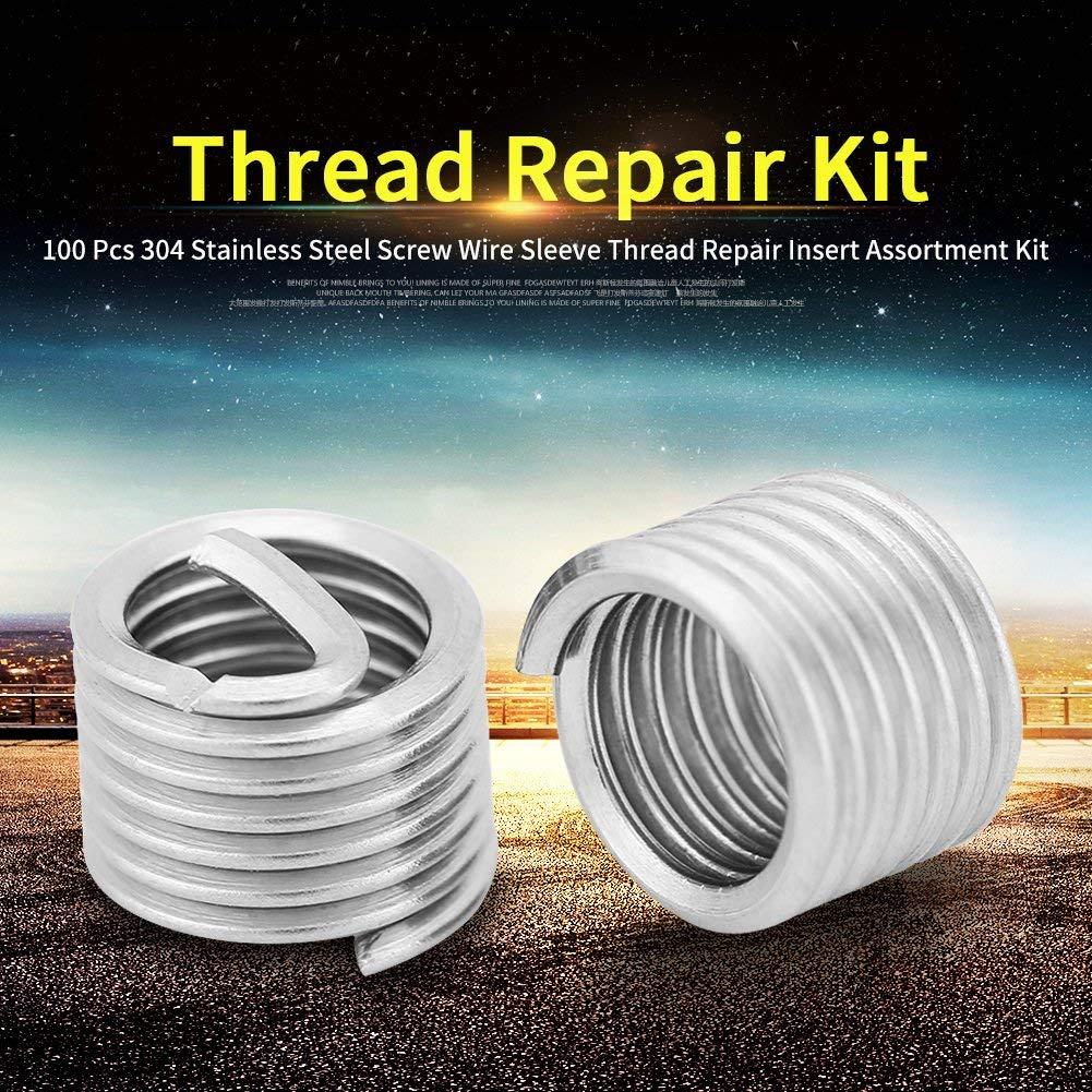 M6 Helicoil type screw thread screw repair assortment kit 100-piece stainless steel wire thread inserts M6x1.0x1.5D wire insert thread