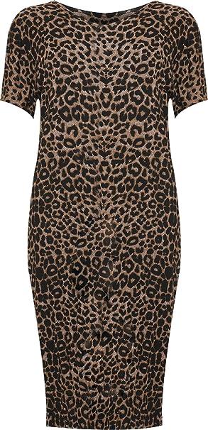 WearAll - Damen Übergröße Tier druck Kurzarm Midi-Kleid - Leoparden ...