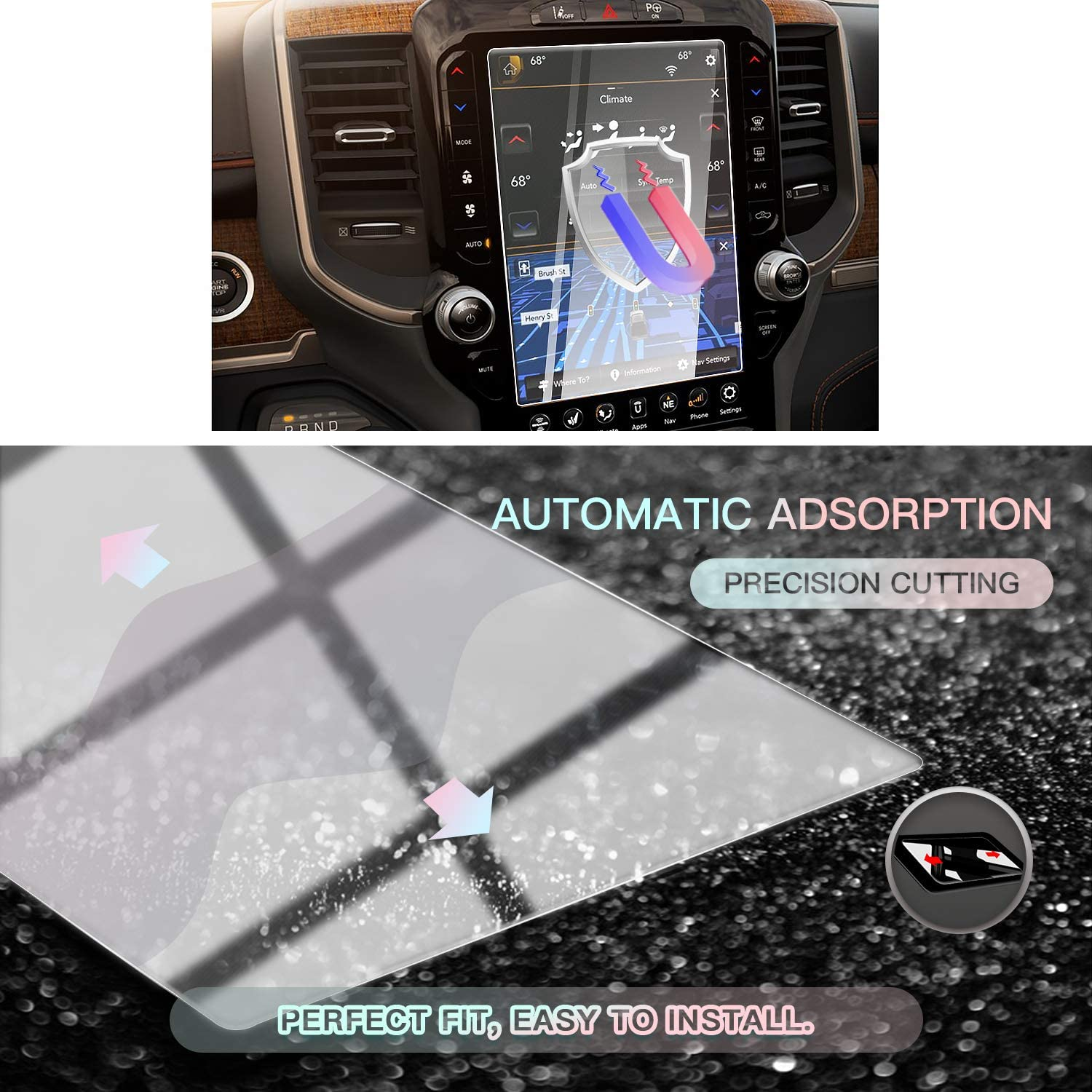 CDEFG Car Screen Protector Center Control Navigation Touch Screen Protector for 2019 2020 Dodge RAM 1500 2500 3500 Uconnect for 2019 Dodge RAM 12 inch Tempered Glass HD Scratch Resistance