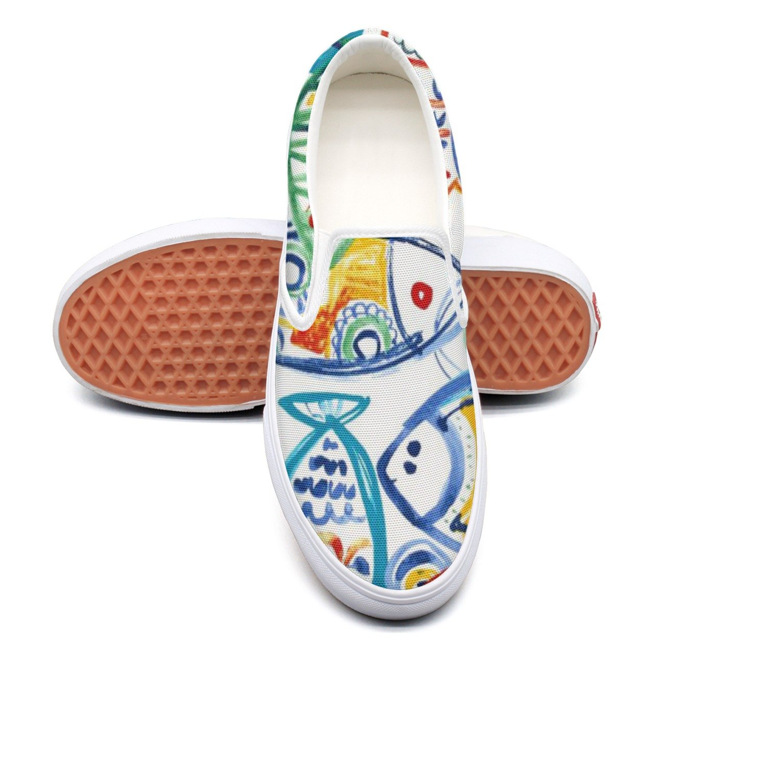VCERTHDF Seaside Rainbow Fishes Fashion Slip-On Shoes Man White