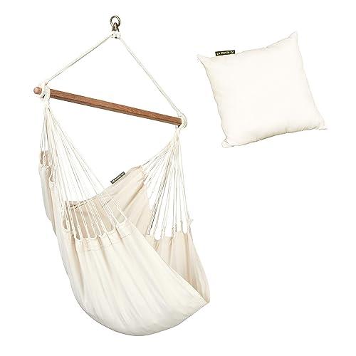 LA SIESTA Modesta Latte – Organic Cotton Basic Hammock Swing Chair with Cushion