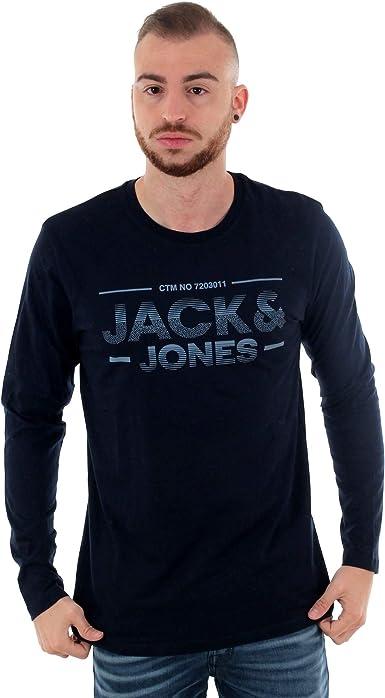 Camiseta Jack&Jones Hombre Azul Marino 12165520 JCOSEAD tee LS Crew Neck FST Sky Captain Slim