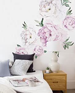 Simple Shapes Peony Flowers Wall Sticker - Vintage Lilac